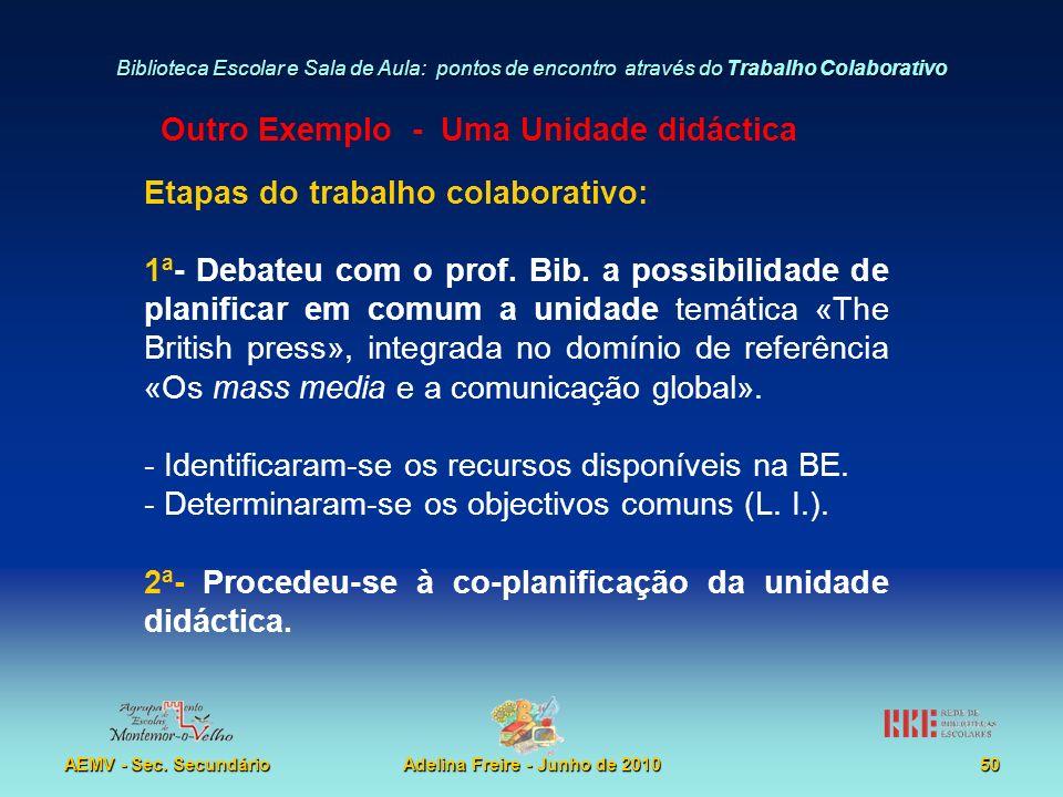 Biblioteca Escolar e Sala de Aula: pontos de encontro através do Trabalho Colaborativo AEMV - Sec. SecundárioAdelina Freire - Junho de 201050 Etapas d