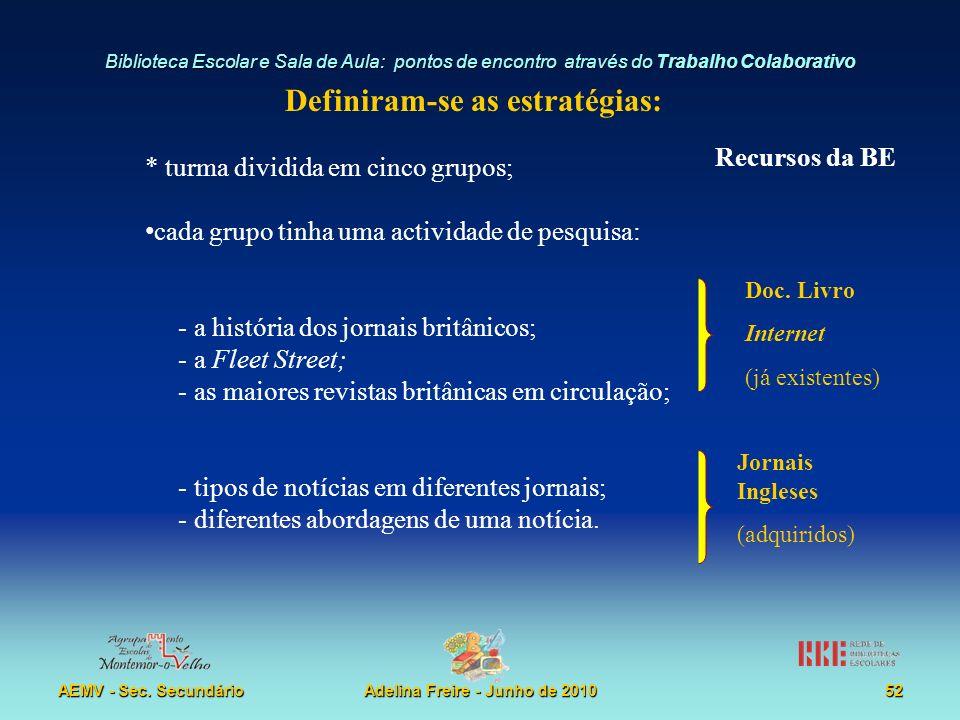 Biblioteca Escolar e Sala de Aula: pontos de encontro através do Trabalho Colaborativo AEMV - Sec. SecundárioAdelina Freire - Junho de 201052 Definira