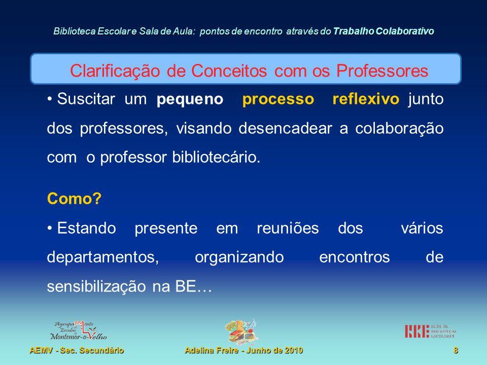 Biblioteca Escolar e Sala de Aula: pontos de encontro através do Trabalho Colaborativo AEMV - Sec. SecundárioAdelina Freire - Junho de 20108 Suscitar