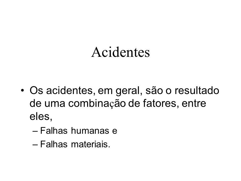 Acidentes Os acidentes, em geral, são o resultado de uma combina ç ão de fatores, entre eles, – Falhas humanas e – Falhas materiais.