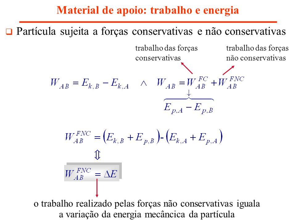 Material de apoio: trabalho e energia Partícula sujeita a forças conservativas e não conservativas o trabalho realizado pelas forças não conservativas iguala a variação da energia mecâncica da partícula trabalho das forças conservativas trabalho das forças não conservativas