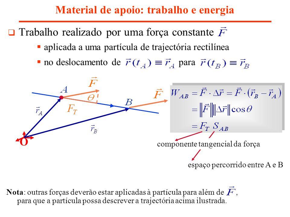Trabalho realizado por uma força constante aplicada a uma partícula de trajectória rectilínea no deslocamento de para Material de apoio: trabalho e en