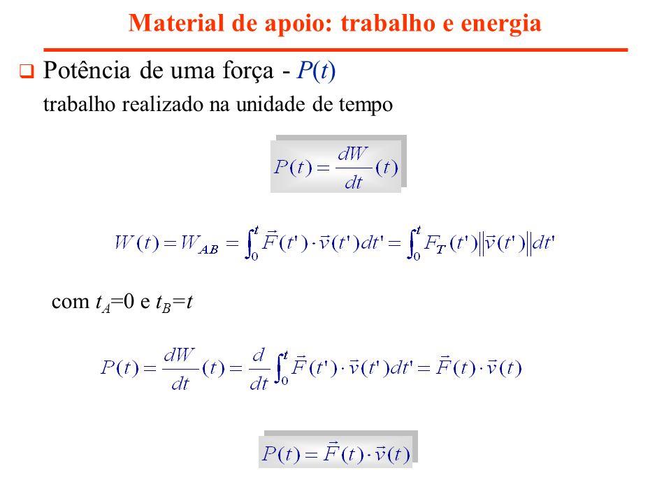 Trabalho e energia cinética Material de apoio: trabalho e energia E k,B - energia cinética em B E k,A - energia cinética em A o trabalho total realizado pelas forças aplicadas à partícula iguala a variação da sua energia cinética resultado válido para forças arbitrárias