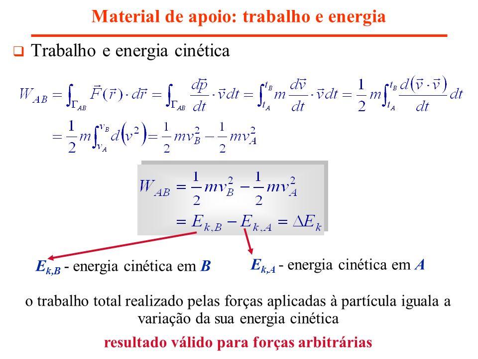 Material de apoio: trabalho e energia Forças conservativas – derivam de uma energia potencial segundo: Trabalho e Energia Potencial energia potencial energia potencial em A energia potencial em B o trabalho total realizado pelas forças aplicadas à partícula iguala o simétrico da variação da sua energia potencial resultado válido para forças conservativas