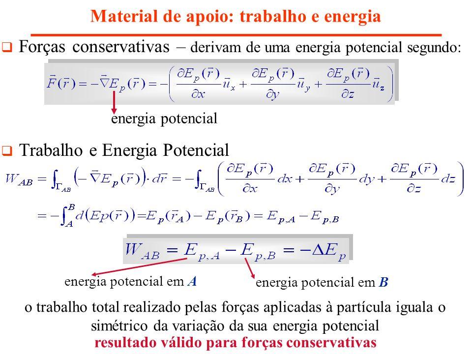 Material de apoio: trabalho e energia Forças conservativas – derivam de uma energia potencial segundo: Trabalho e Energia Potencial energia potencial