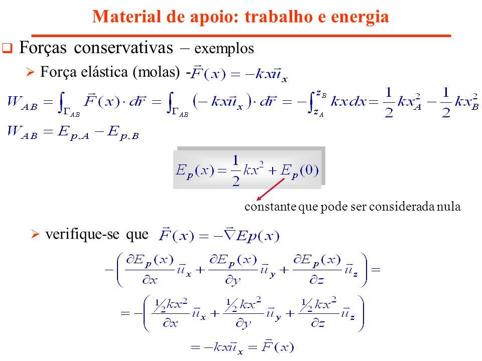 Material de apoio: trabalho e energia Forças conservativas – exemplos Força elástica (molas) - constante que pode ser considerada nula verifique-se qu