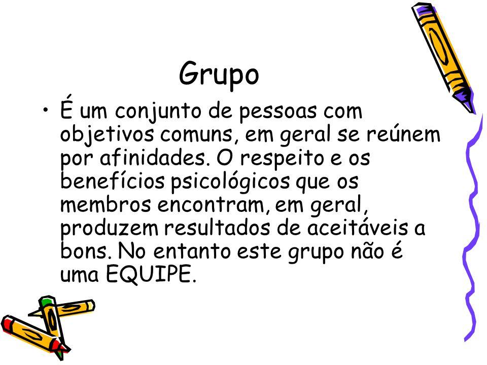 Grupo É um conjunto de pessoas com objetivos comuns, em geral se reúnem por afinidades. O respeito e os benefícios psicológicos que os membros encontr