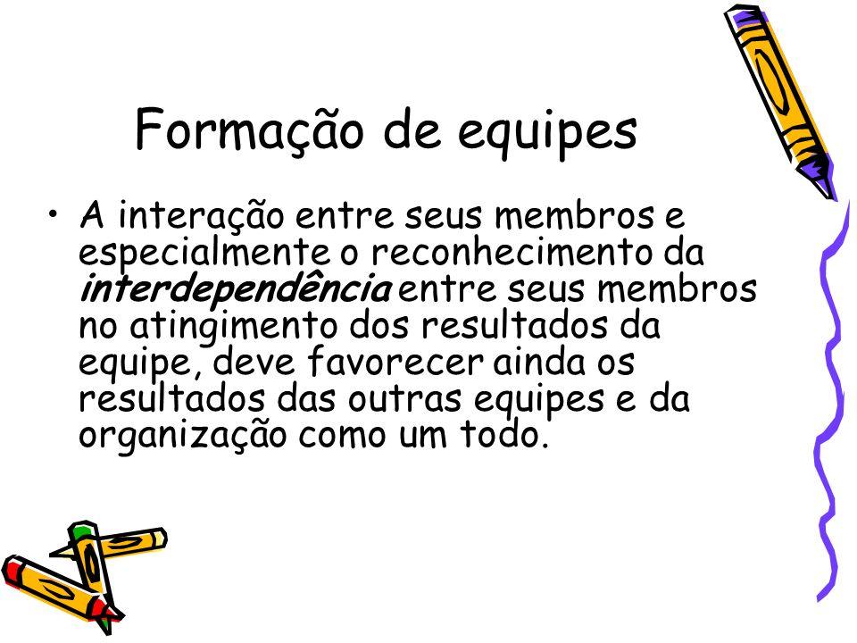 Formação de equipes A interação entre seus membros e especialmente o reconhecimento da interdependência entre seus membros no atingimento dos resultad