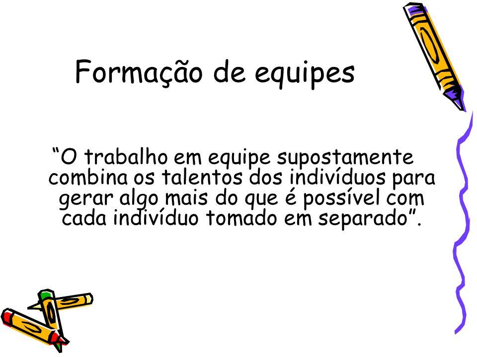 Formação de equipes O trabalho em equipe supostamente combina os talentos dos indivíduos para gerar algo mais do que é possível com cada indivíduo tom