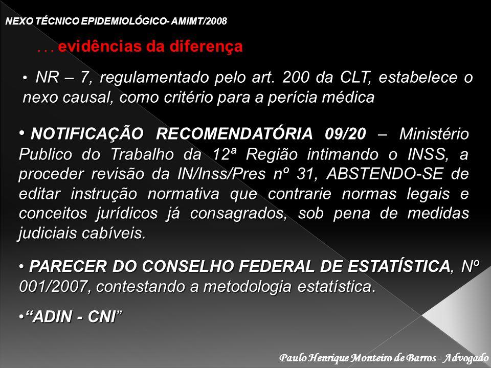 Paulo Henrique Monteiro de Barros - Advogado NEXO TÉCNICO EPIDEMIOLÓGICO- AMIMT/2008... evidências da diferença NR – 7, regulamentado pelo art. 200 da
