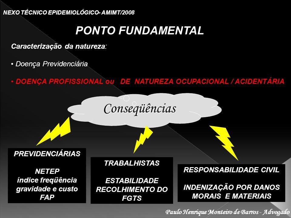 Paulo Henrique Monteiro de Barros - Advogado NEXO TÉCNICO EPIDEMIOLÓGICO- AMIMT/2008 PONTO FUNDAMENTAL Caracterização da natureza: Doença Previdenciár