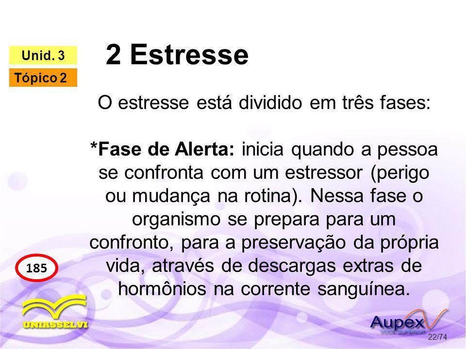 2 Estresse 22/74 185 Unid. 3 Tópico 2 O estresse está dividido em três fases: *Fase de Alerta: inicia quando a pessoa se confronta com um estressor (p