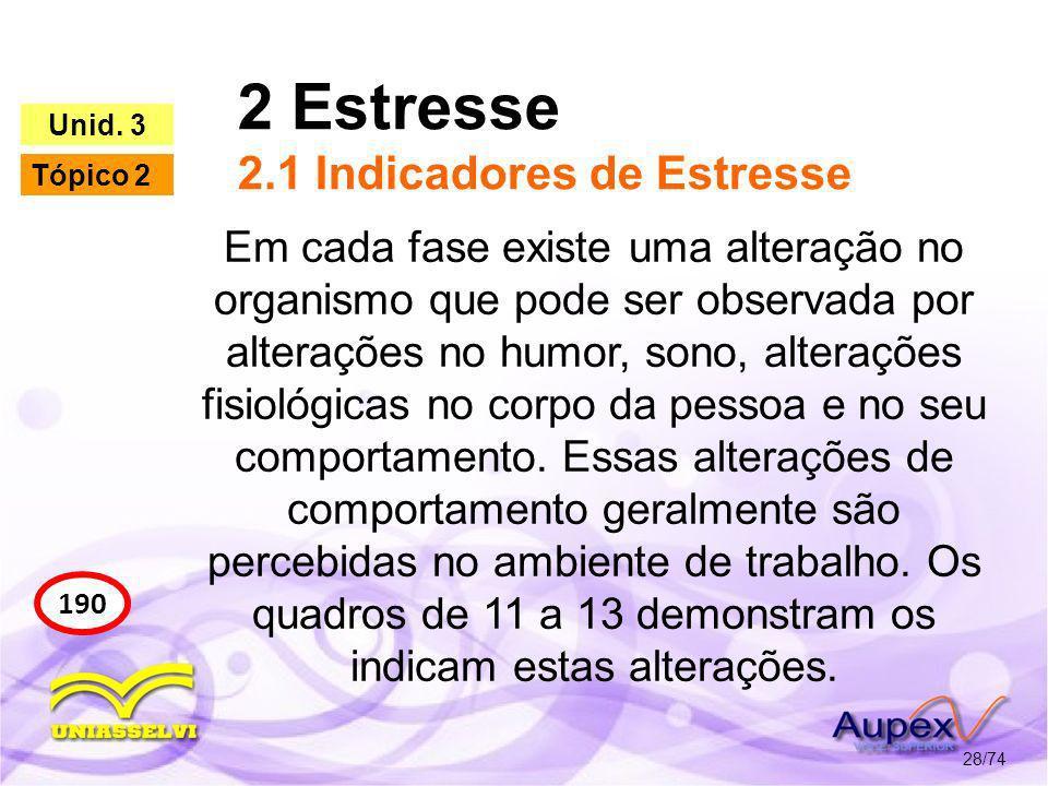 2 Estresse 2.1 Indicadores de Estresse 28/74 190 Unid. 3 Tópico 2 Em cada fase existe uma alteração no organismo que pode ser observada por alterações