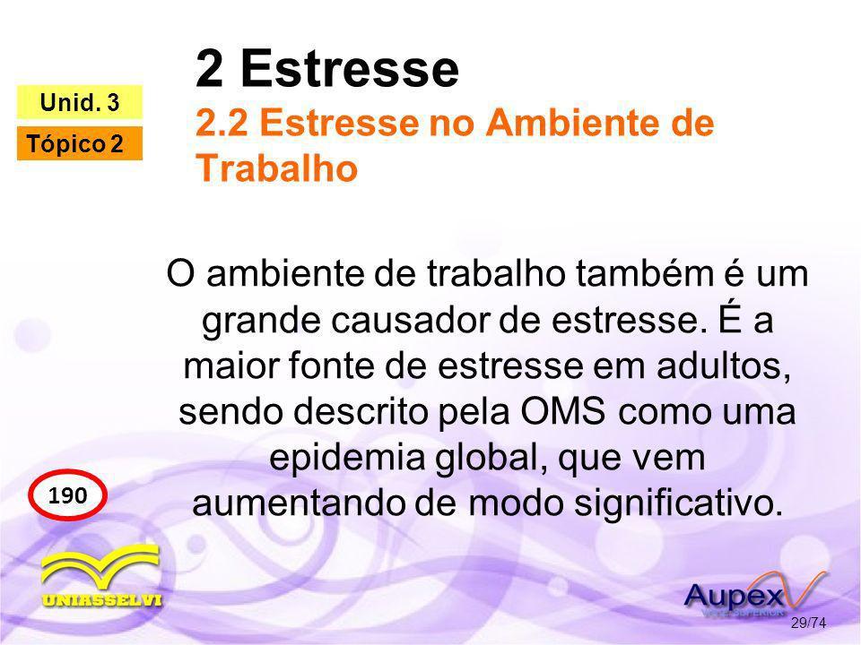 2 Estresse 2.2 Estresse no Ambiente de Trabalho 29/74 190 Unid. 3 Tópico 2 O ambiente de trabalho também é um grande causador de estresse. É a maior f