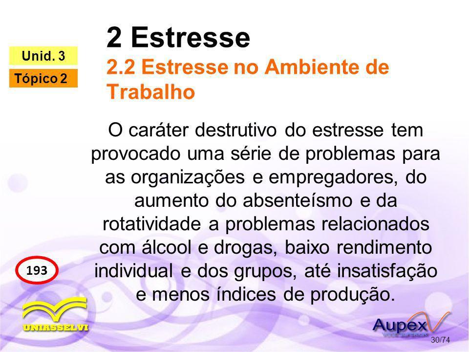 2 Estresse 2.2 Estresse no Ambiente de Trabalho 30/74 193 Unid. 3 Tópico 2 O caráter destrutivo do estresse tem provocado uma série de problemas para