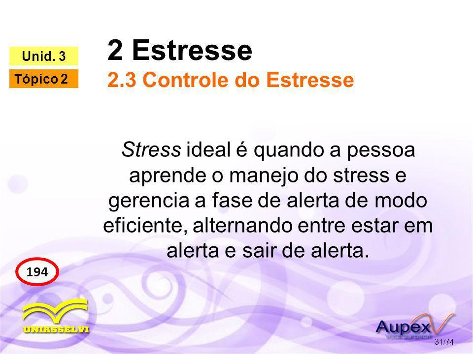 2 Estresse 2.3 Controle do Estresse 31/74 194 Unid. 3 Tópico 2 Stress ideal é quando a pessoa aprende o manejo do stress e gerencia a fase de alerta d