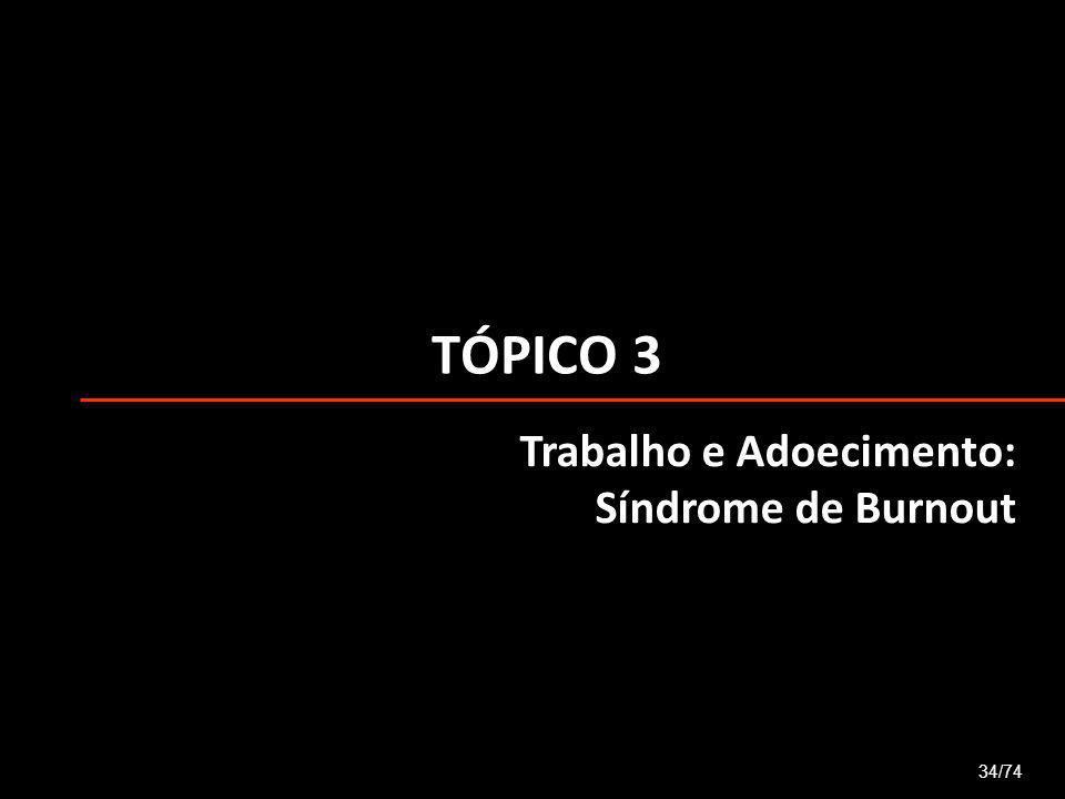 TÓPICO 3 34/74 Trabalho e Adoecimento: Síndrome de Burnout