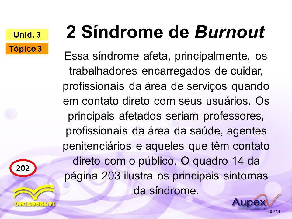 2 Síndrome de Burnout 39/74 202 Unid. 3 Tópico 3 Essa síndrome afeta, principalmente, os trabalhadores encarregados de cuidar, profissionais da área d