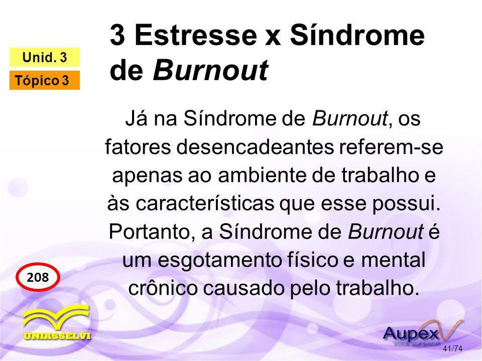 3 Estresse x Síndrome de Burnout 41/74 208 Unid. 3 Tópico 3 Já na Síndrome de Burnout, os fatores desencadeantes referem-se apenas ao ambiente de trab