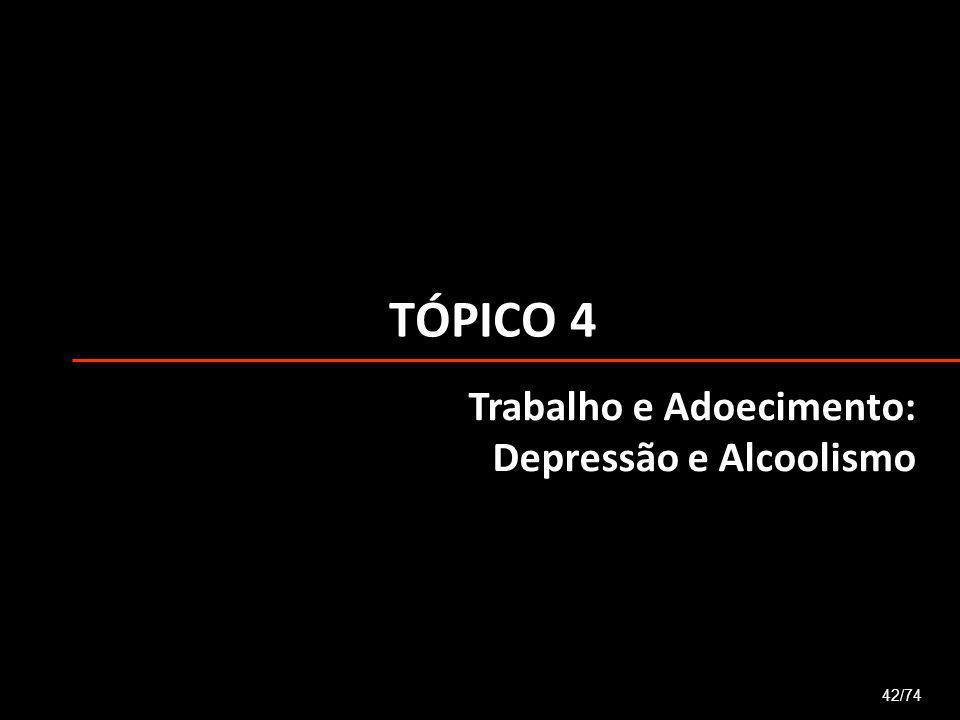 TÓPICO 4 42/74 Trabalho e Adoecimento: Depressão e Alcoolismo