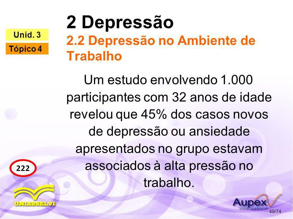 2 Depressão 2.2 Depressão no Ambiente de Trabalho 49/74 222 Unid. 3 Tópico 4 Um estudo envolvendo 1.000 participantes com 32 anos de idade revelou que