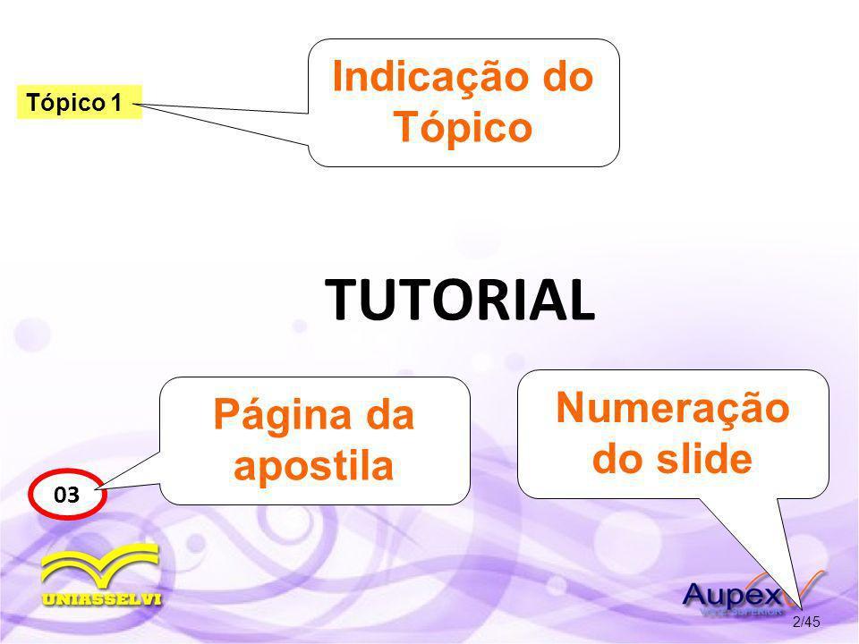 TUTORIAL 2/45 Tópico 1 03 Indicação do Tópico Página da apostila Numeração do slide
