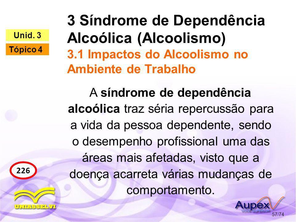 3 Síndrome de Dependência Alcoólica (Alcoolismo) 3.1 Impactos do Alcoolismo no Ambiente de Trabalho 57/74 226 Unid. 3 Tópico 4 A síndrome de dependênc