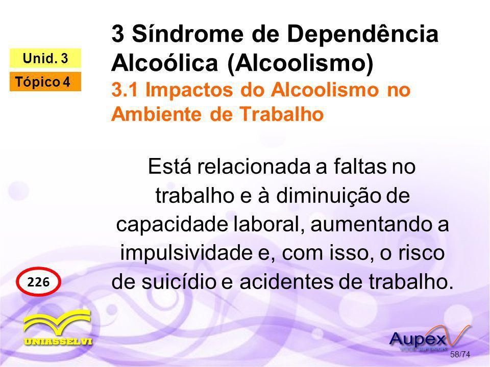 3 Síndrome de Dependência Alcoólica (Alcoolismo) 3.1 Impactos do Alcoolismo no Ambiente de Trabalho 58/74 226 Unid. 3 Tópico 4 Está relacionada a falt