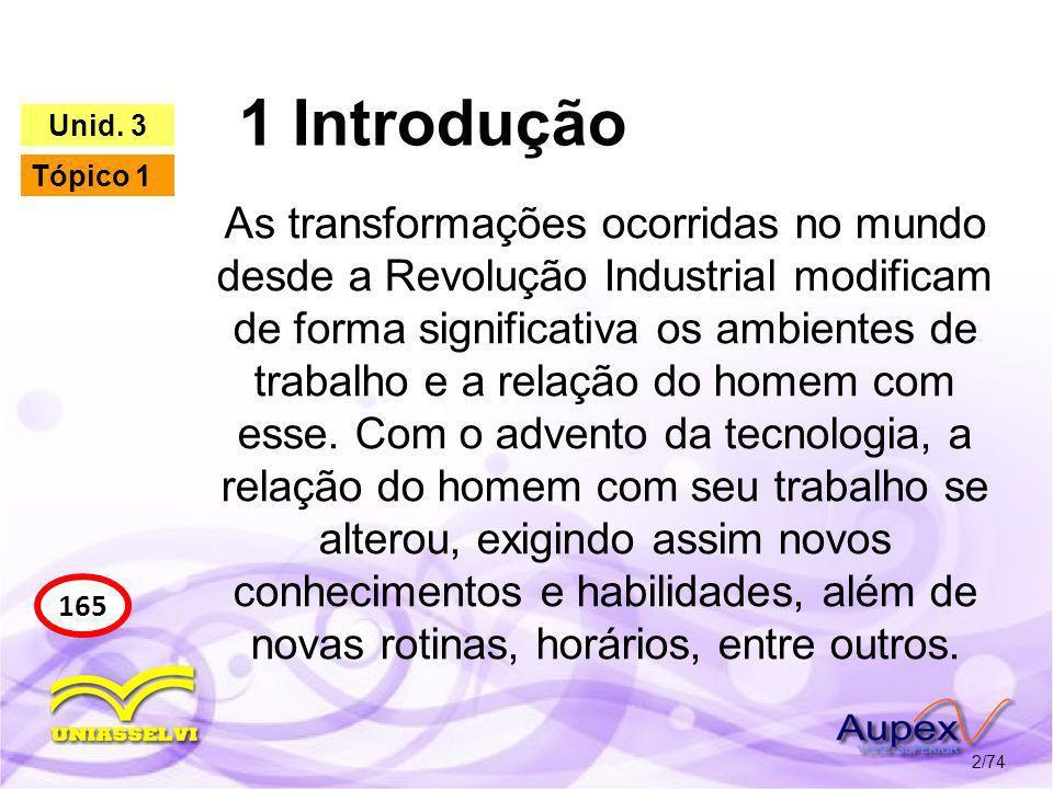 1 Introdução 2/74 165 Unid. 3 Tópico 1 As transformações ocorridas no mundo desde a Revolução Industrial modificam de forma significativa os ambientes