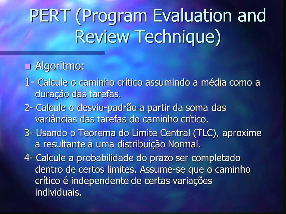 PERT (Program Evaluation and Review Technique) Algoritmo: Algoritmo: 1- Calcule o caminho crítico assumindo a média como a duração das tarefas. 2- Cal