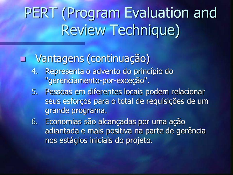 PERT (Program Evaluation and Review Technique) Vantagens (continuação) Vantagens (continuação) 4.Representa o advento do princípio do
