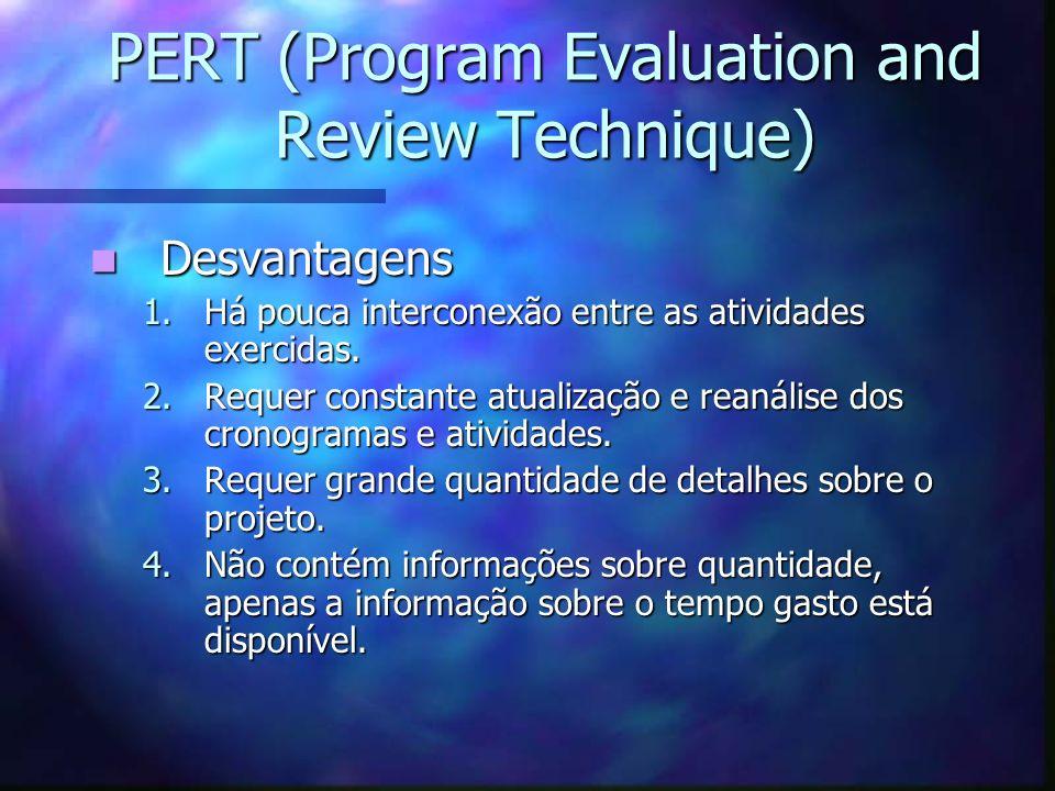 PERT (Program Evaluation and Review Technique) Desvantagens Desvantagens 1.Há pouca interconexão entre as atividades exercidas. 2.Requer constante atu