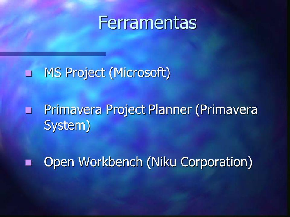 Ferramentas MS Project (Microsoft) MS Project (Microsoft) Primavera Project Planner (Primavera System) Primavera Project Planner (Primavera System) Op