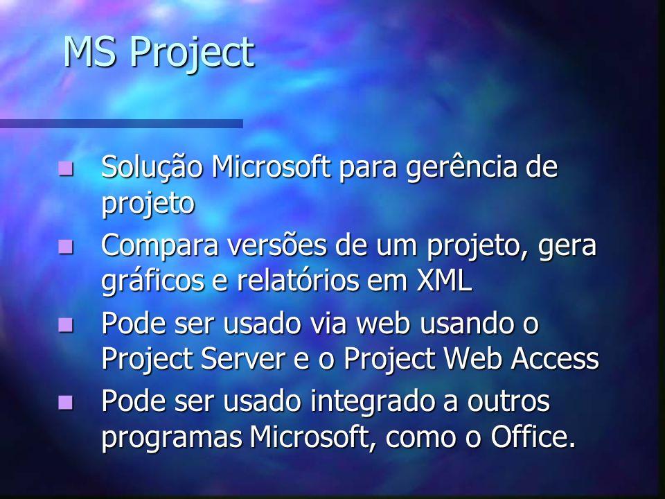 MS Project Solução Microsoft para gerência de projeto Solução Microsoft para gerência de projeto Compara versões de um projeto, gera gráficos e relató
