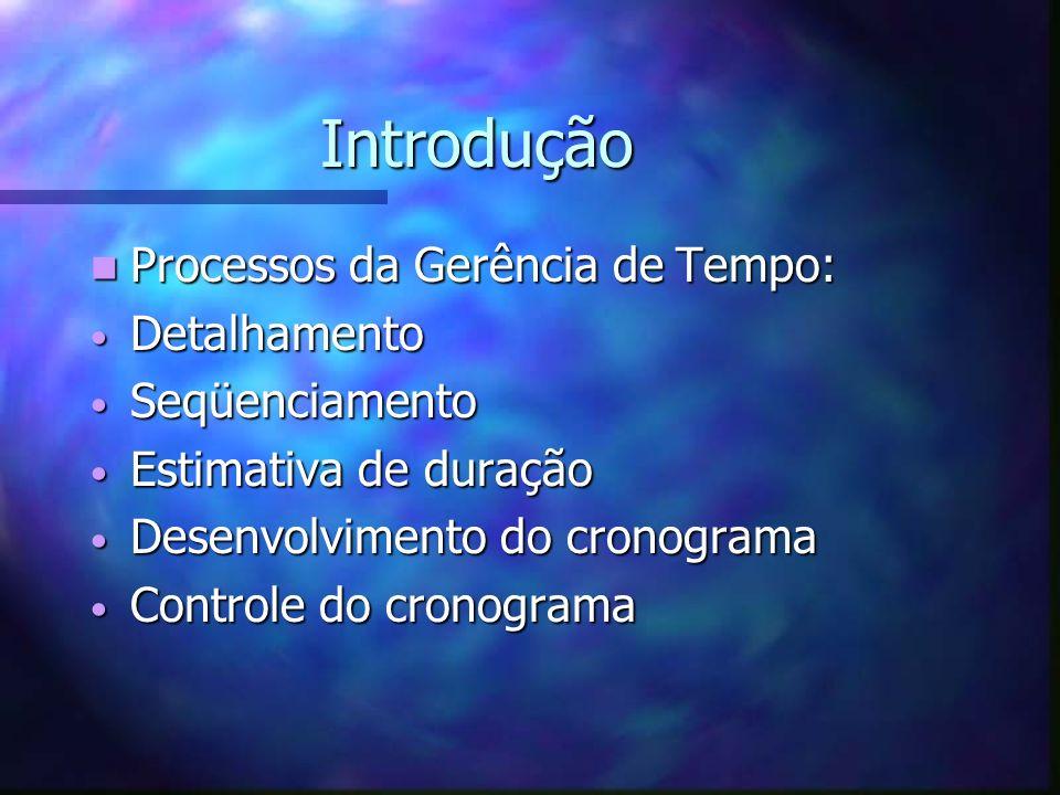 Introdução Processos da Gerência de Tempo: Processos da Gerência de Tempo: Detalhamento Detalhamento Seqüenciamento Seqüenciamento Estimativa de duraç
