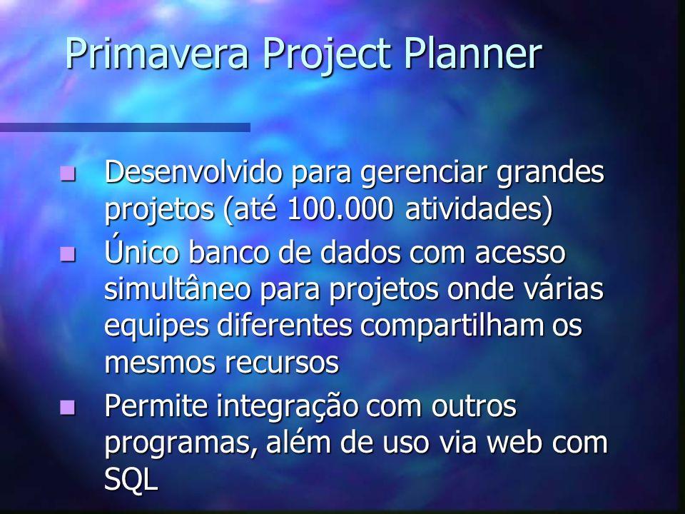Primavera Project Planner Desenvolvido para gerenciar grandes projetos (até 100.000 atividades) Desenvolvido para gerenciar grandes projetos (até 100.