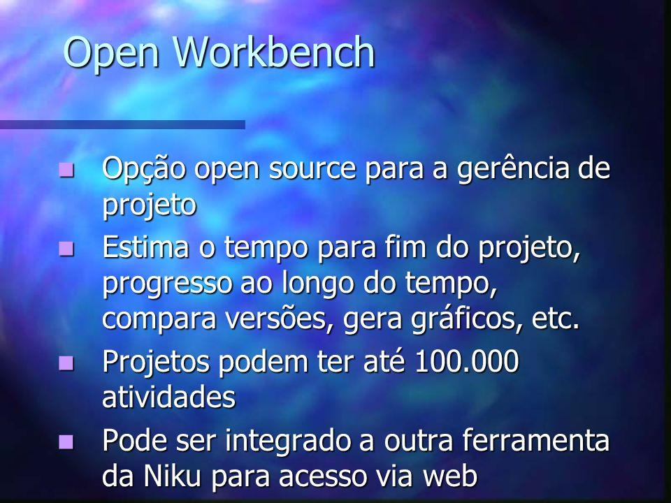 Open Workbench Opção open source para a gerência de projeto Opção open source para a gerência de projeto Estima o tempo para fim do projeto, progresso