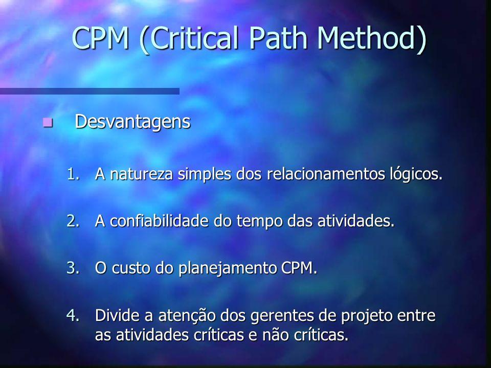 CPM (Critical Path Method) Desvantagens Desvantagens 1.A natureza simples dos relacionamentos lógicos. 2.A confiabilidade do tempo das atividades. 3.O