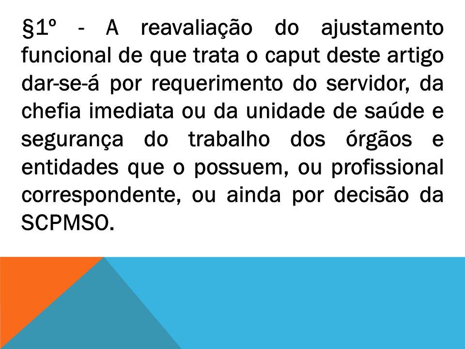§1º - A reavaliação do ajustamento funcional de que trata o caput deste artigo dar-se-á por requerimento do servidor, da chefia imediata ou da unidade