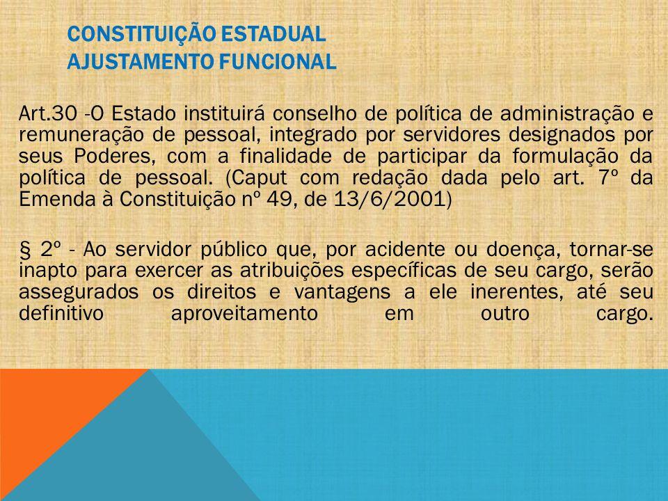 CONSTITUIÇÃO ESTADUAL AJUSTAMENTO FUNCIONAL Art.30 -O Estado instituirá conselho de política de administração e remuneração de pessoal, integrado por