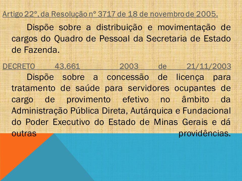 Artigo 22º, da Resolução nº 3717 de 18 de novembro de 2005. Dispõe sobre a distribuição e movimentação de cargos do Quadro de Pessoal da Secretaria de
