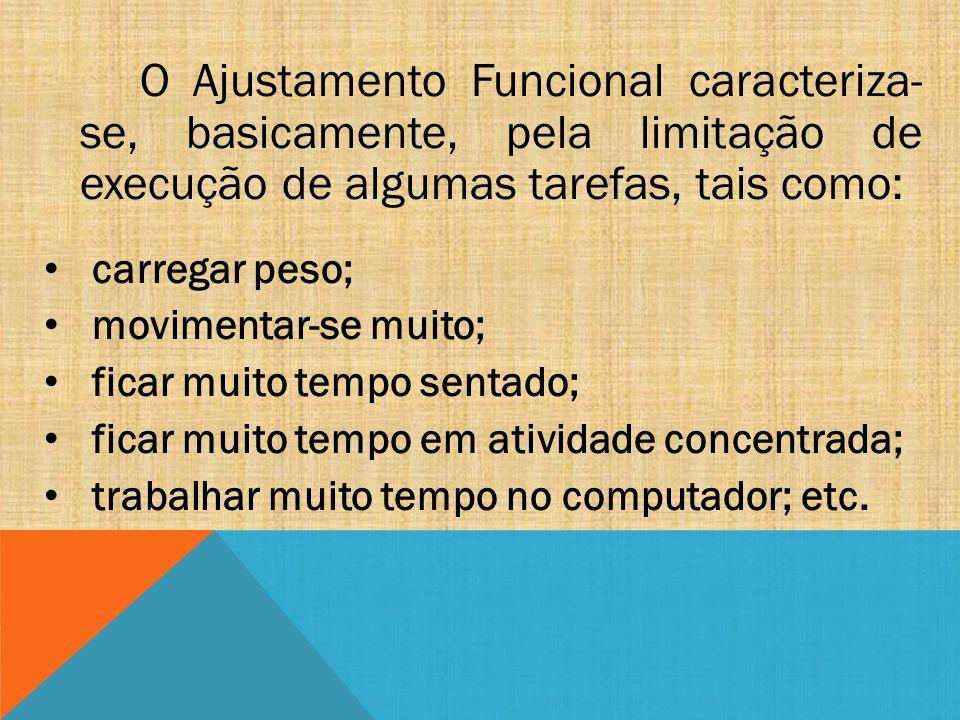O Ajustamento Funcional caracteriza- se, basicamente, pela limitação de execução de algumas tarefas, tais como: carregar peso; movimentar-se muito; fi