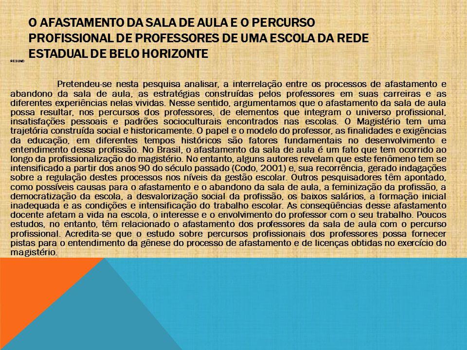 O AFASTAMENTO DA SALA DE AULA E O PERCURSO PROFISSIONAL DE PROFESSORES DE UMA ESCOLA DA REDE ESTADUAL DE BELO HORIZONTE RESUMO Pretendeu-se nesta pesq