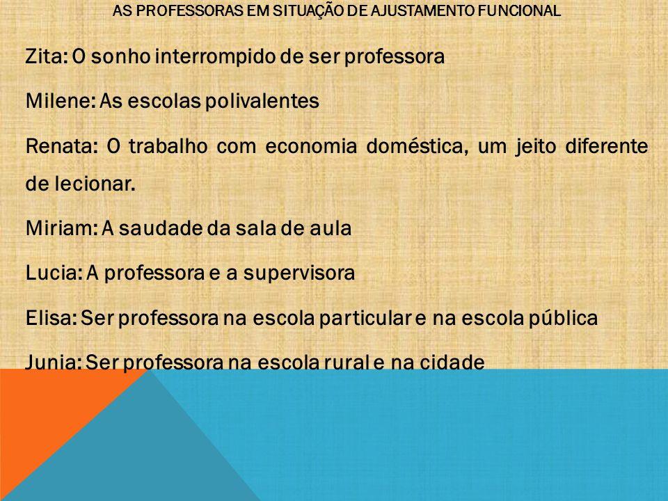 AS PROFESSORAS EM SITUAÇÃO DE AJUSTAMENTO FUNCIONAL Zita: O sonho interrompido de ser professora Milene: As escolas polivalentes Renata: O trabalho co