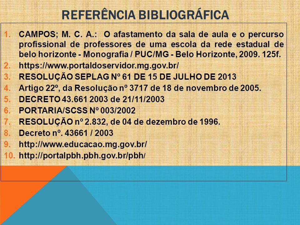 REFERÊNCIA BIBLIOGRÁFICA 1.CAMPOS; M. C. A.: O afastamento da sala de aula e o percurso profissional de professores de uma escola da rede estadual de