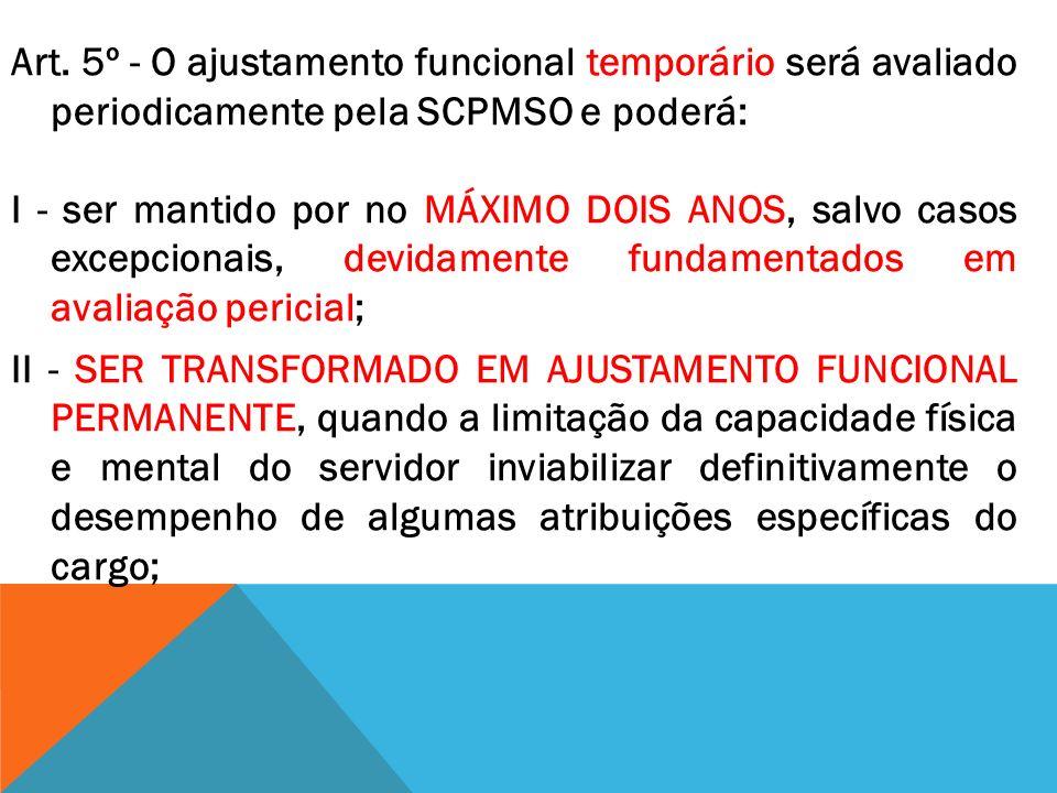 Art. 5º - O ajustamento funcional temporário será avaliado periodicamente pela SCPMSO e poderá: I - ser mantido por no MÁXIMO DOIS ANOS, salvo casos e