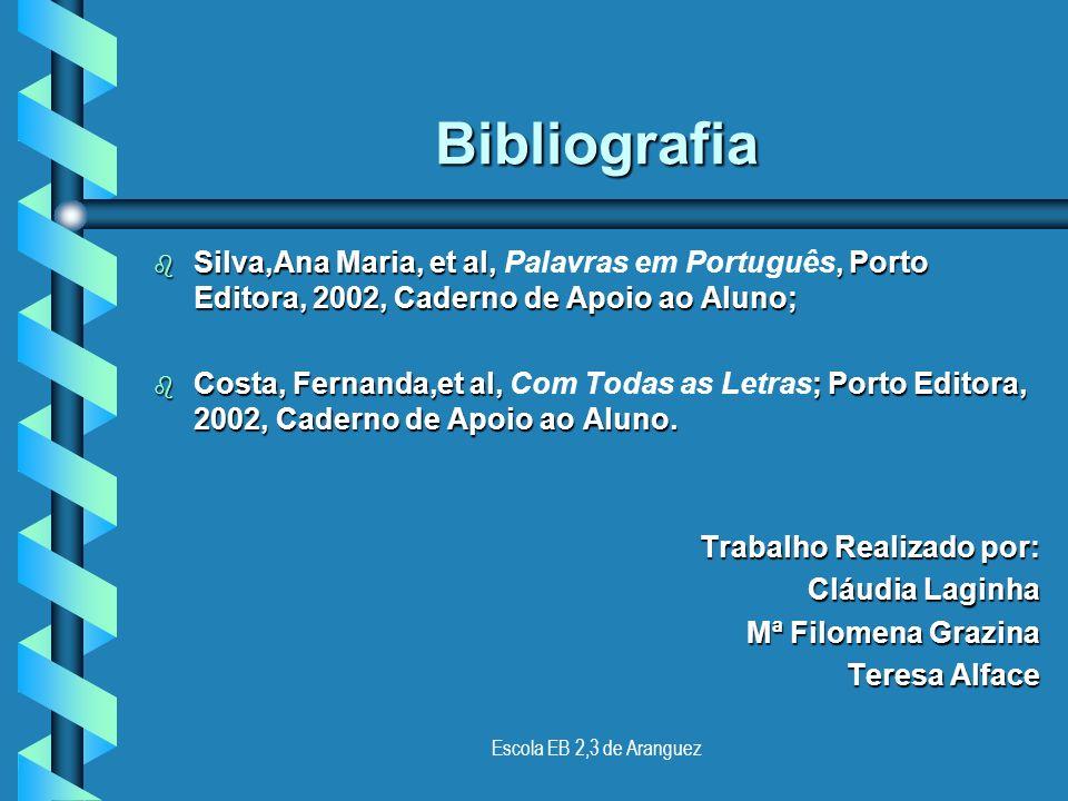 Escola EB 2,3 de Aranguez Bibliografia Bibliografia Deve ser apresentada por ordem alfabética dos apelidos dos autores cujas obras foram consultadas,