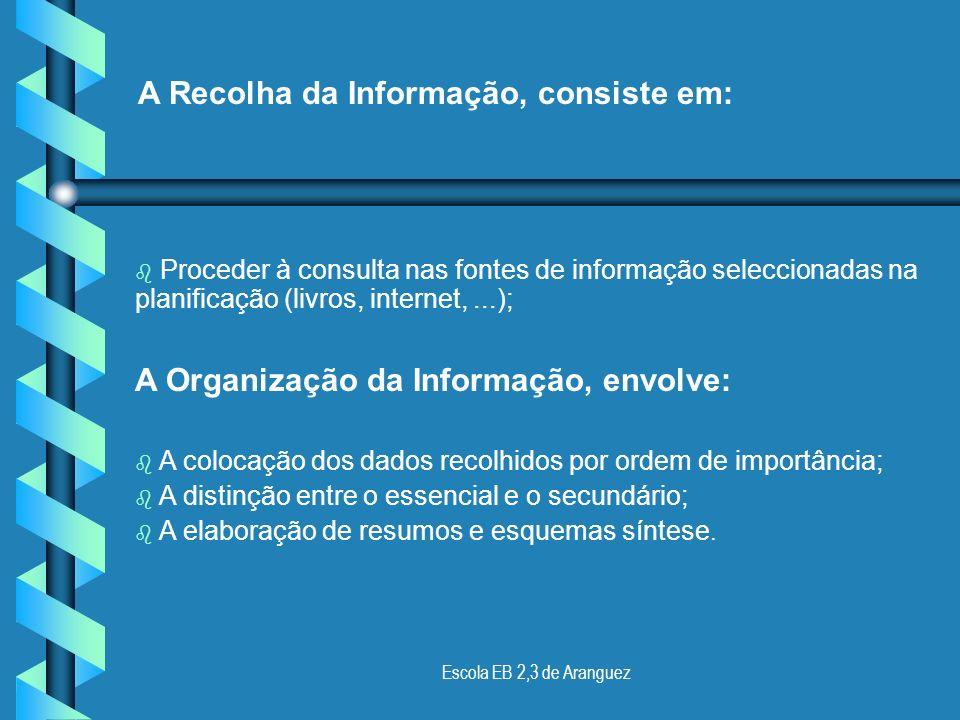 Escola EB 2,3 de Aranguez Como Fazer um trabalho! O objectivo/ tema geral do trabalho; O esquema por tópicos do seu desenvolvimento; As fontes de info