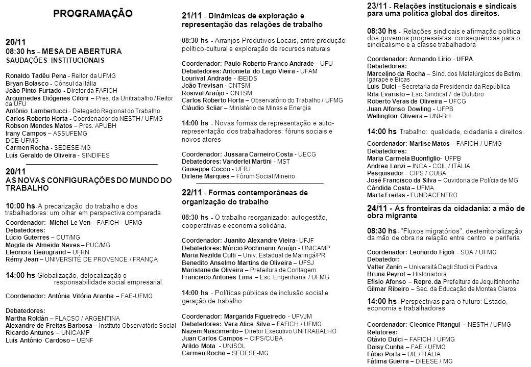21/11 22/11 21/11 - Dinâmicas de exploração e representação das relações de trabalho 08:30 hs - Arranjos Produtivos Locais, entre produção político-cu