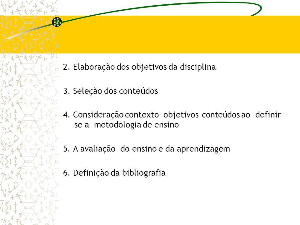 2. Elaboração dos objetivos da disciplina 3. Seleção dos conteúdos 4. Consideração contexto -objetivos-conteúdos ao definir- se a metodologia de ensin